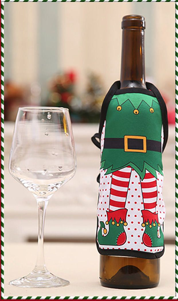 Elf Christmas Wine Bottle Apron Cover