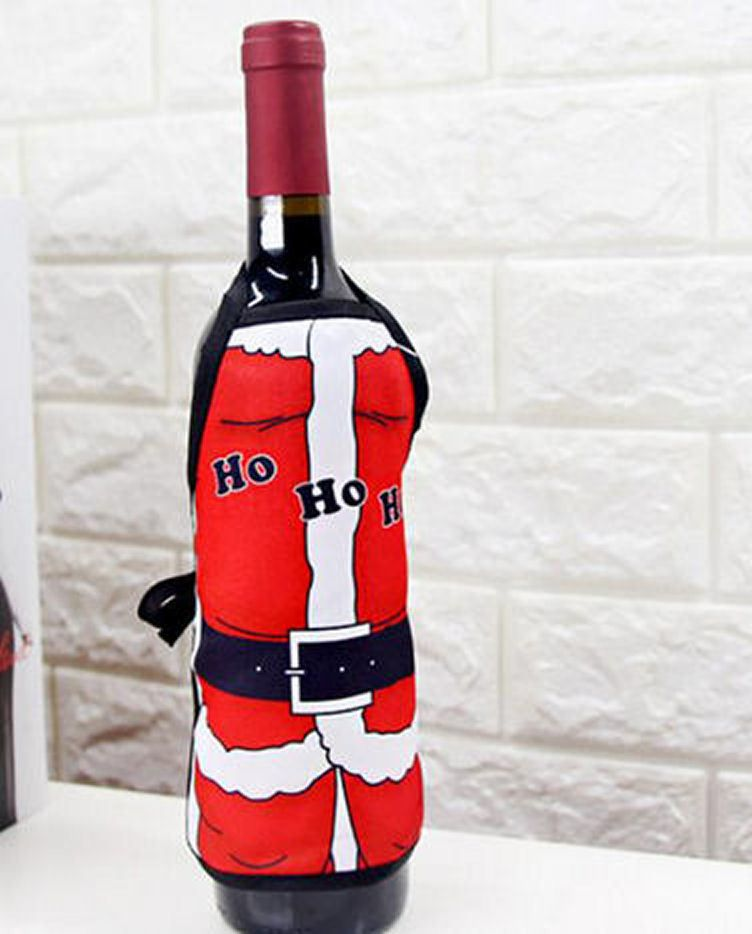 Santa Christmas Wine Bottle Apron Cover