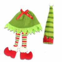 Christmas Wine Bottle Cover with Stripey Dangly Legs