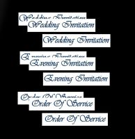 Wedding Evening Invitation, Order of Service Banners DIY Wedding Stationery in Blue