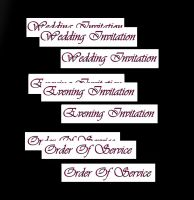 Wedding Evening Invitation, Order of Service Banners DIY Wedding Stationery in Red