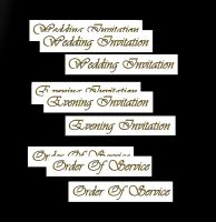 Wedding Evening Invitation, Order of Service Banners DIY Wedding Stationery in Gold Black