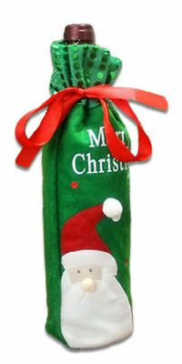 Christmas Wine Bottle Cover Green with Santa