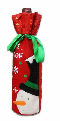 Christmas Wine Bottle Cover Red Snowman