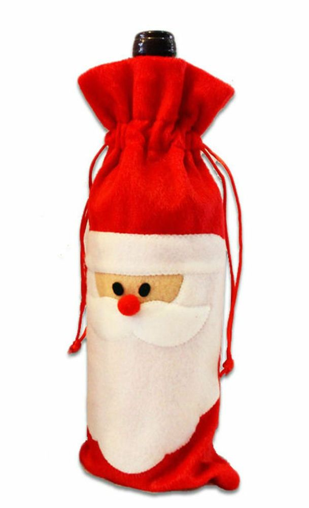 Christmas Wine Bottle Cover Red Santa
