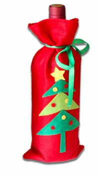 Christmas Wine Bottle Cover Red Tree