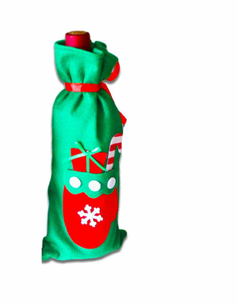 Christmas Wine Bottle Cover Green with Gifts