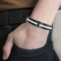 Men's Tribal Bracelet - Black and White Stripe