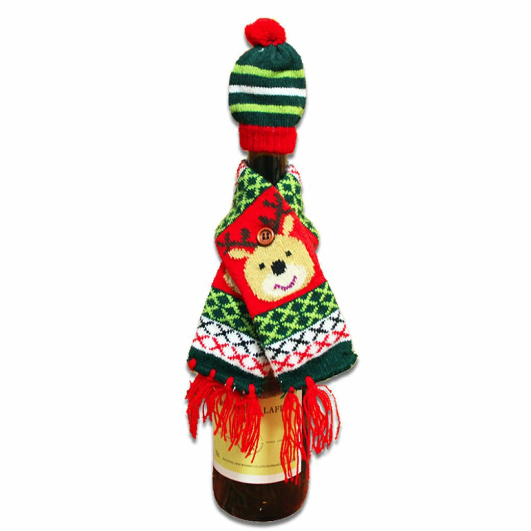 Christmas Wine Bottle Hat & Scarf Reindeer Novelty Table Decoration