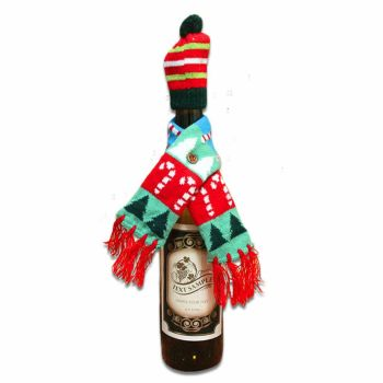 Christmas Wine Bottle Hat & Scarf Novelty Table Decoration