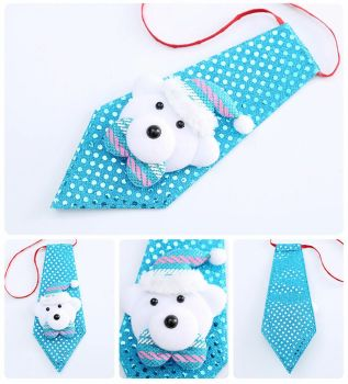 Polar Bear Child's Christmas Novelty Sequin Tie