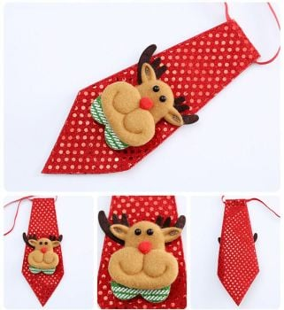 Reindeer Child's Christmas Novelty Sequin Tie