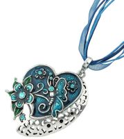 Blue Butterfly Heart Pendant Necklace Ribbon necklace