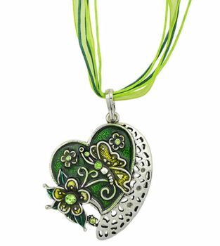 Green Butterfly Heart Pendant Necklace Ribbon necklace