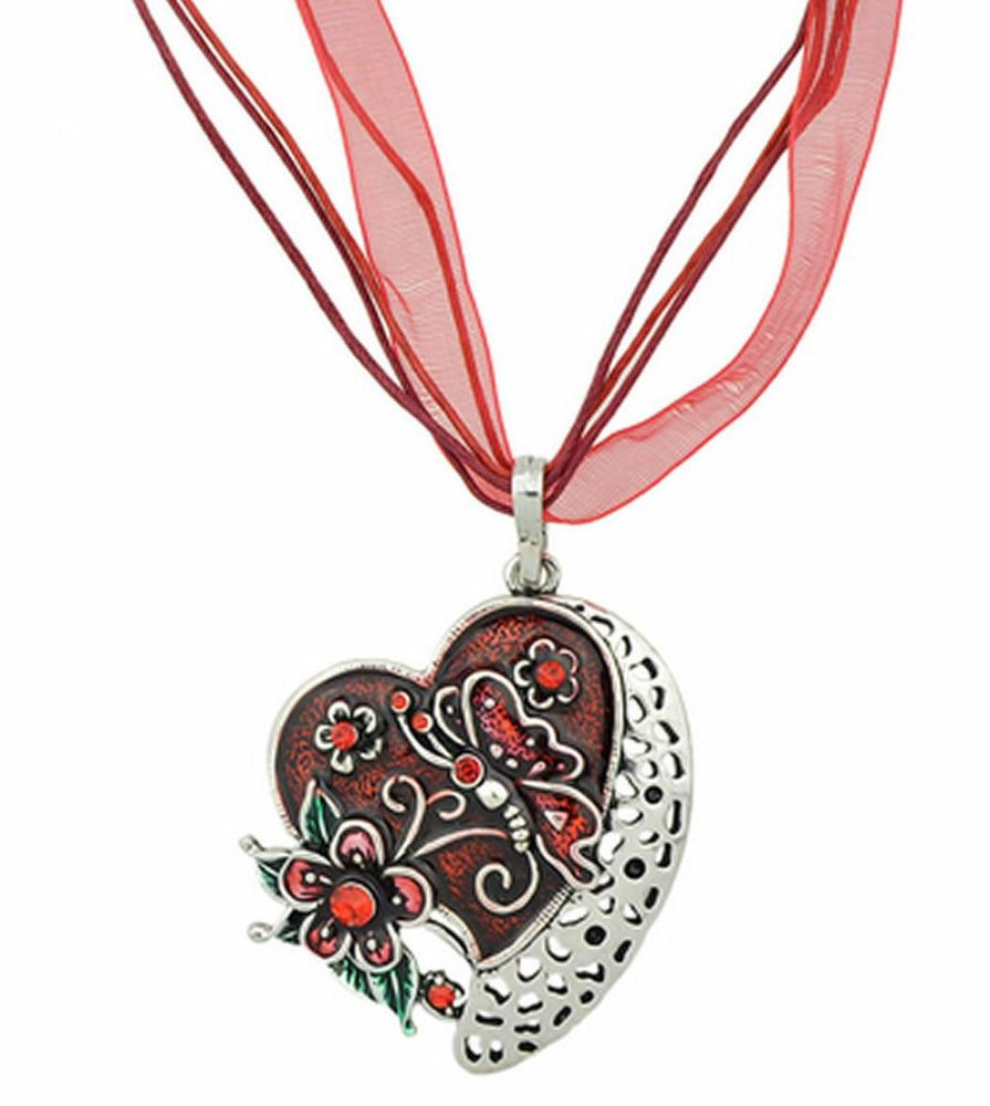 Red Butterfly Heart Pendant Necklace Ribbon necklace
