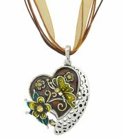 Brown Butterfly Heart Pendant Necklace Ribbon necklace