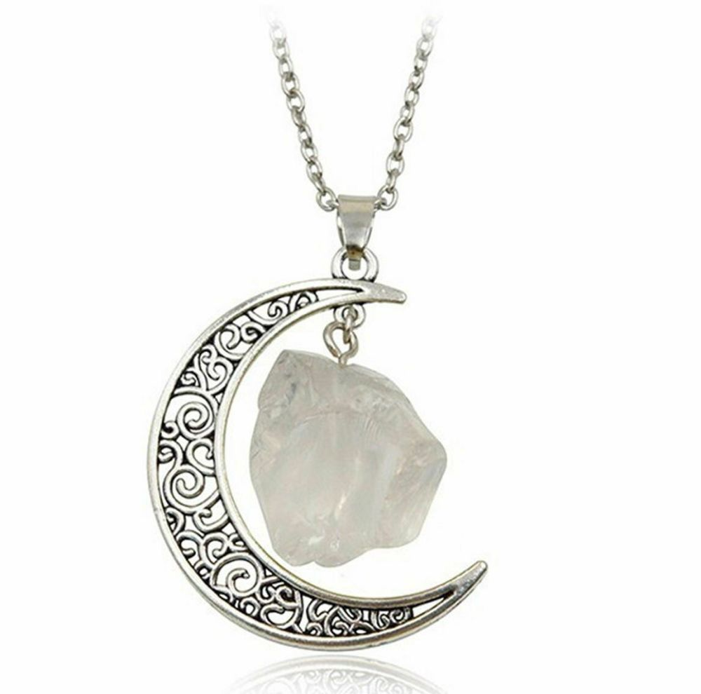 White Quartz and Crescent Moon Pendant Necklace