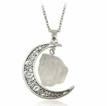 White Quartz and Crescent Moon Pendant Necklace