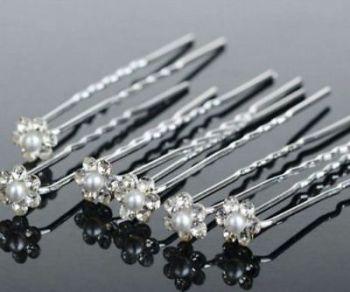 Bridal Rhinestone Flower Crystal Hairpins x 10