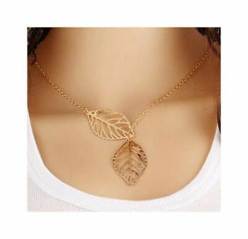 Double Leaf Pendant Necklace in Gold