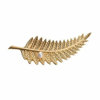 Gold Feather Brooch