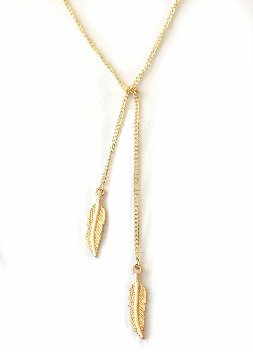 Gold coloured Leaf charm pendant necklace