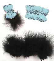 Die Cut Bodices with Fluffy Feathers Light Blue x 5
