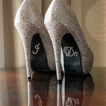 Bride Rhinestone Shoe Stickers - I Do