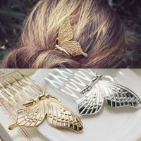 Butterfly Hair Comb Gold or Silver