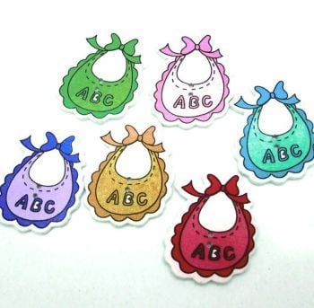 Baby Bib Wooden Button Style Craft Embellishments x 10