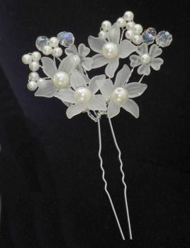 Bridal Crystal Floral Hair Piece with Pearls