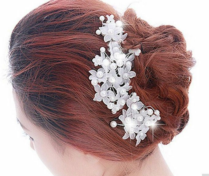 Bridal Crystal Floral Hair Piece with Pearls x 1 Piece