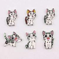 Cats Wooden Button Craft Embellishments x 10
