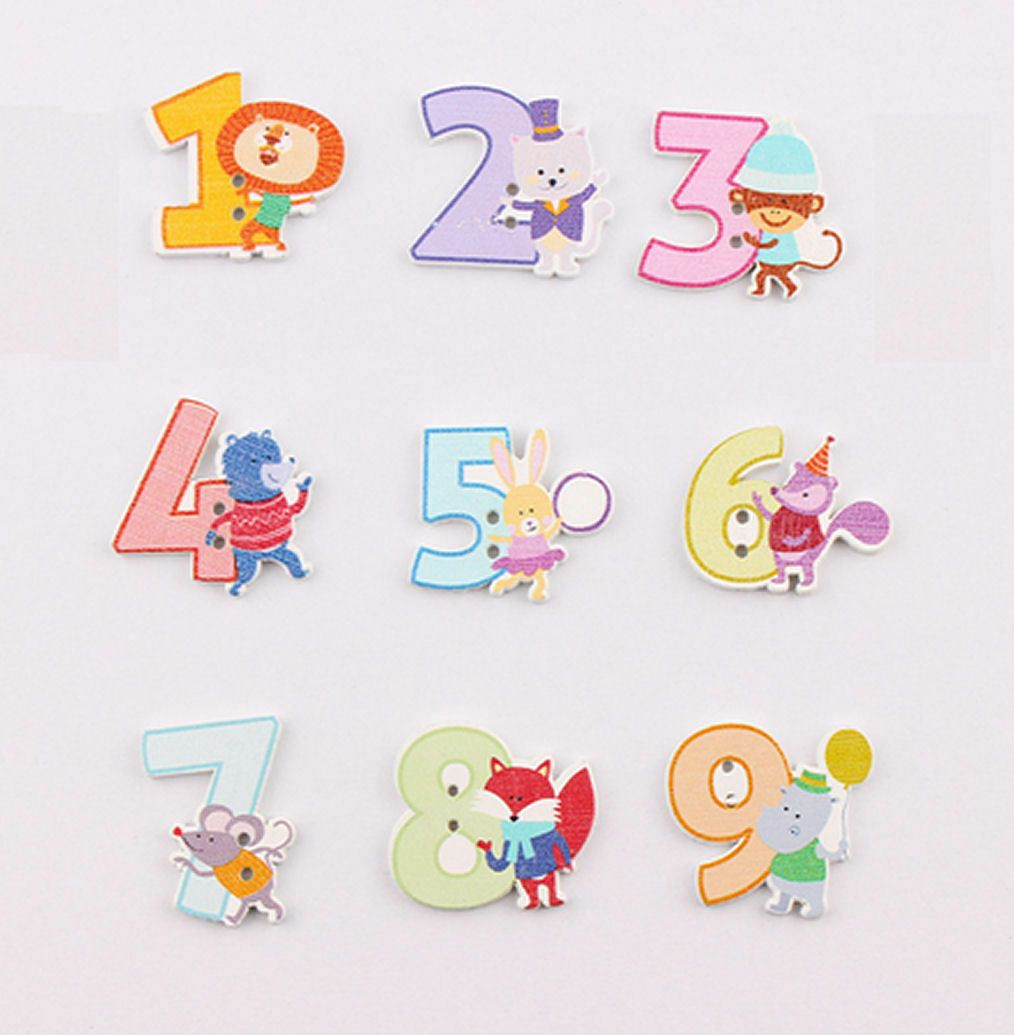 Wooden Numbers Animal Themed Craft Embellishments x 50