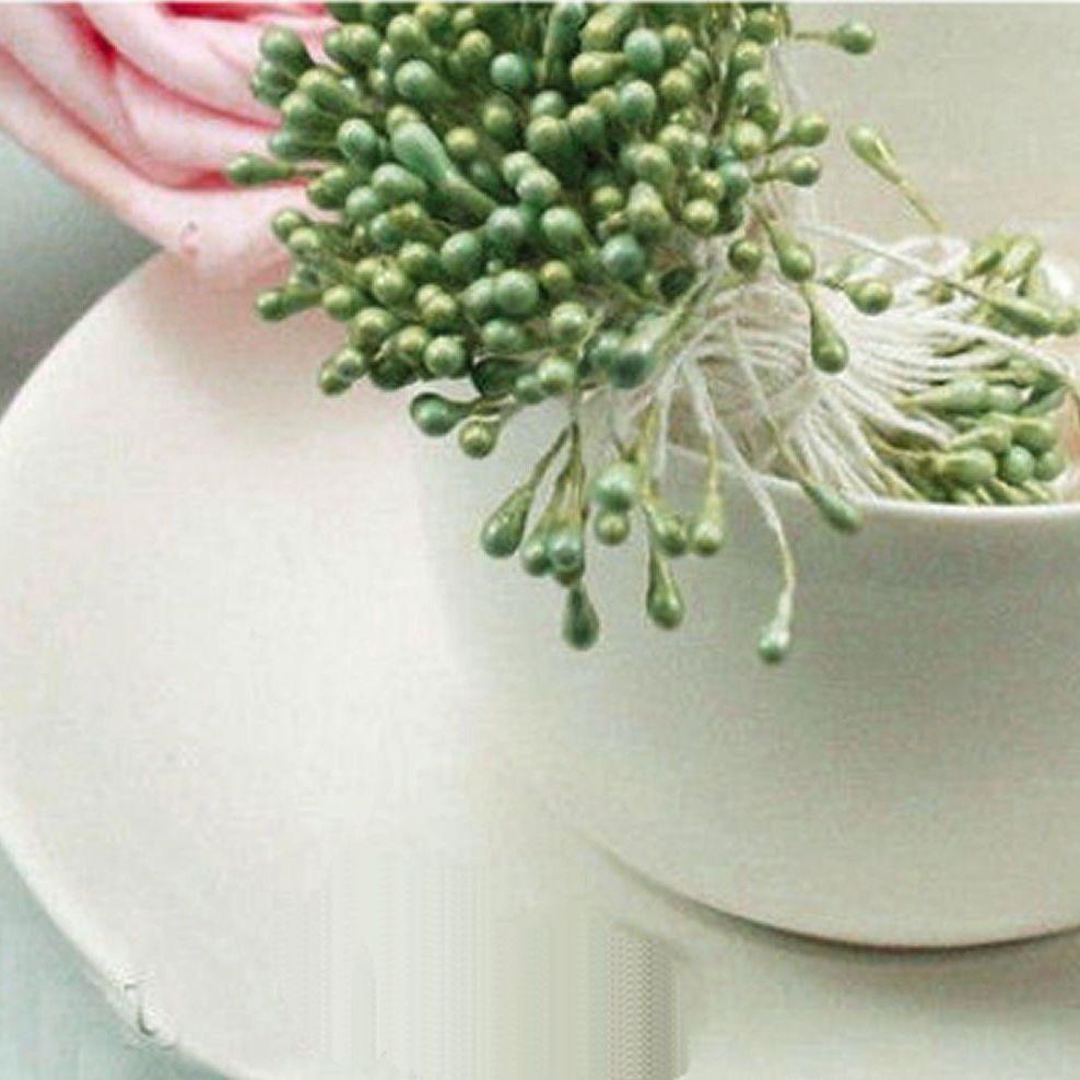 Pearl Flower Stamens - Olive Green