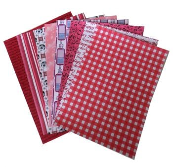 Red A5 Card Making Backing Papers