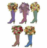 Ladies Boots with Flowers Card Making Toppers x 5