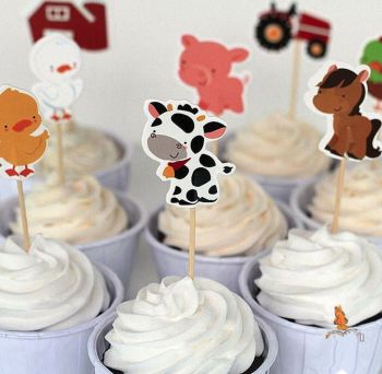 Farm Animals Cake Toppers x 24 for fairy cakes and cupcakes