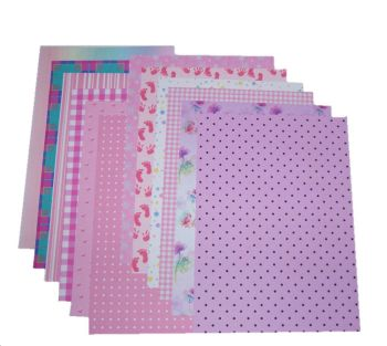 Pink Craft A5 Papers Assorted Styles and Designs