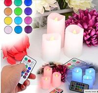 Flameless Colour Changing Remote Control Candles Set