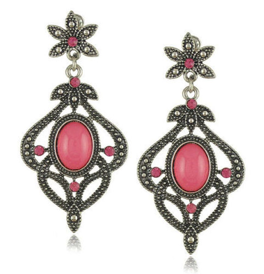 Indian Inspired Earrings with Pink Gems
