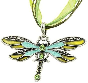 Green Dragonfly Pendant Necklace