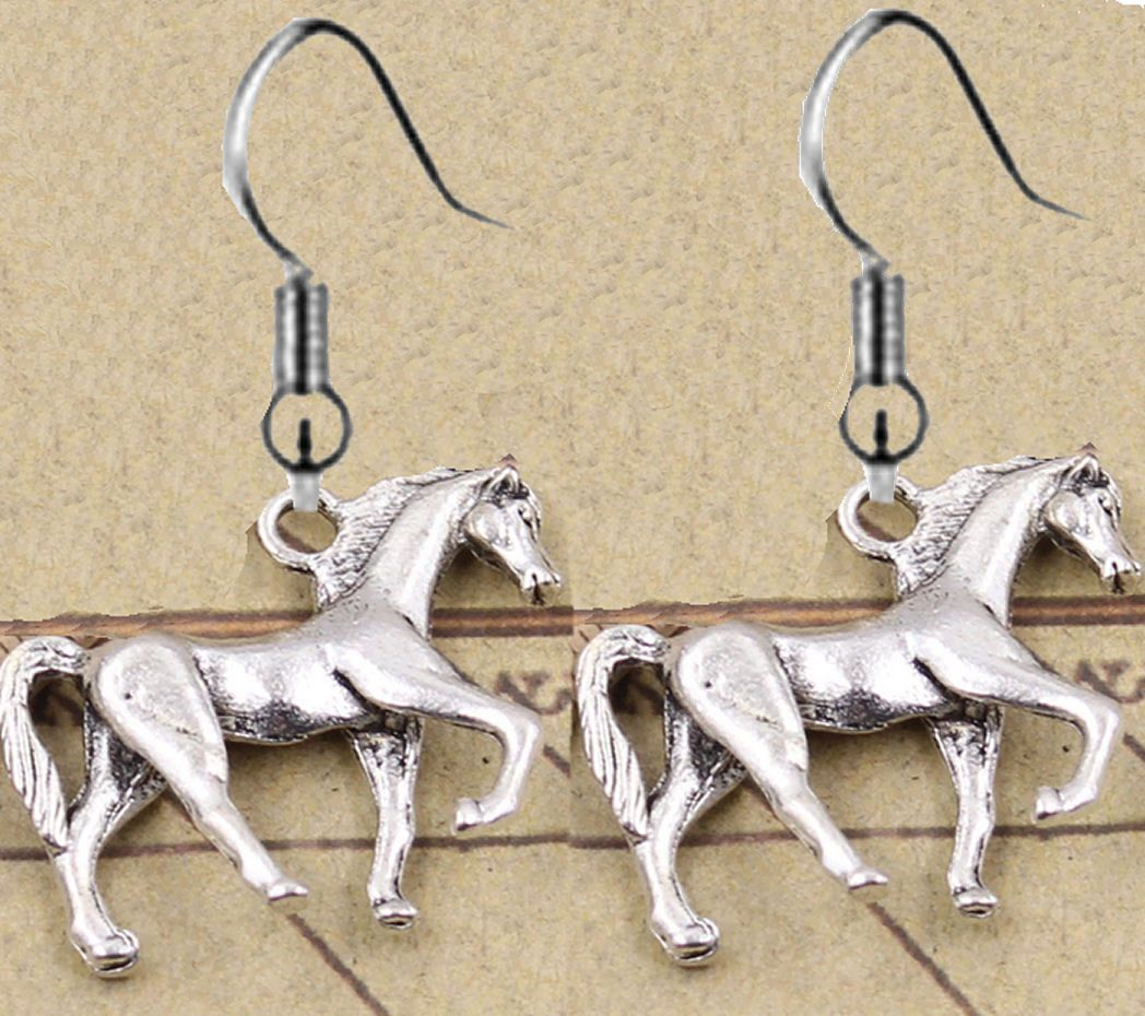 Horse Earrings in a Silver Shade
