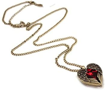 Gothic Red Pendant Necklace Angel Wing Design