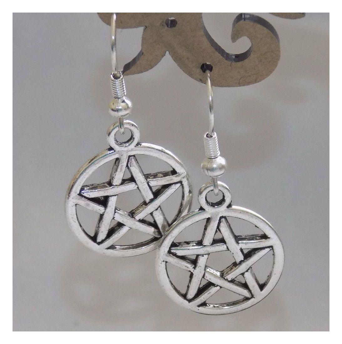 Pentagram Silver Themed Earrings