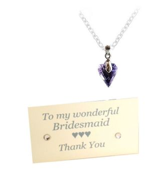 Thank You Bridesmaid Purple Crystal Heart Necklace