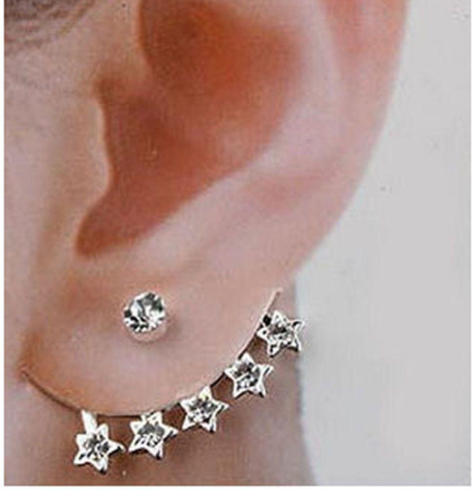 Stars Themed Silver Cuff Earring