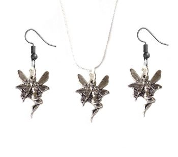 Fairy Earrings and Fairy Pendant Silver Necklace