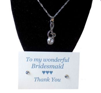 Bridesmaid Gift Pendant Necklace - Musical Note
