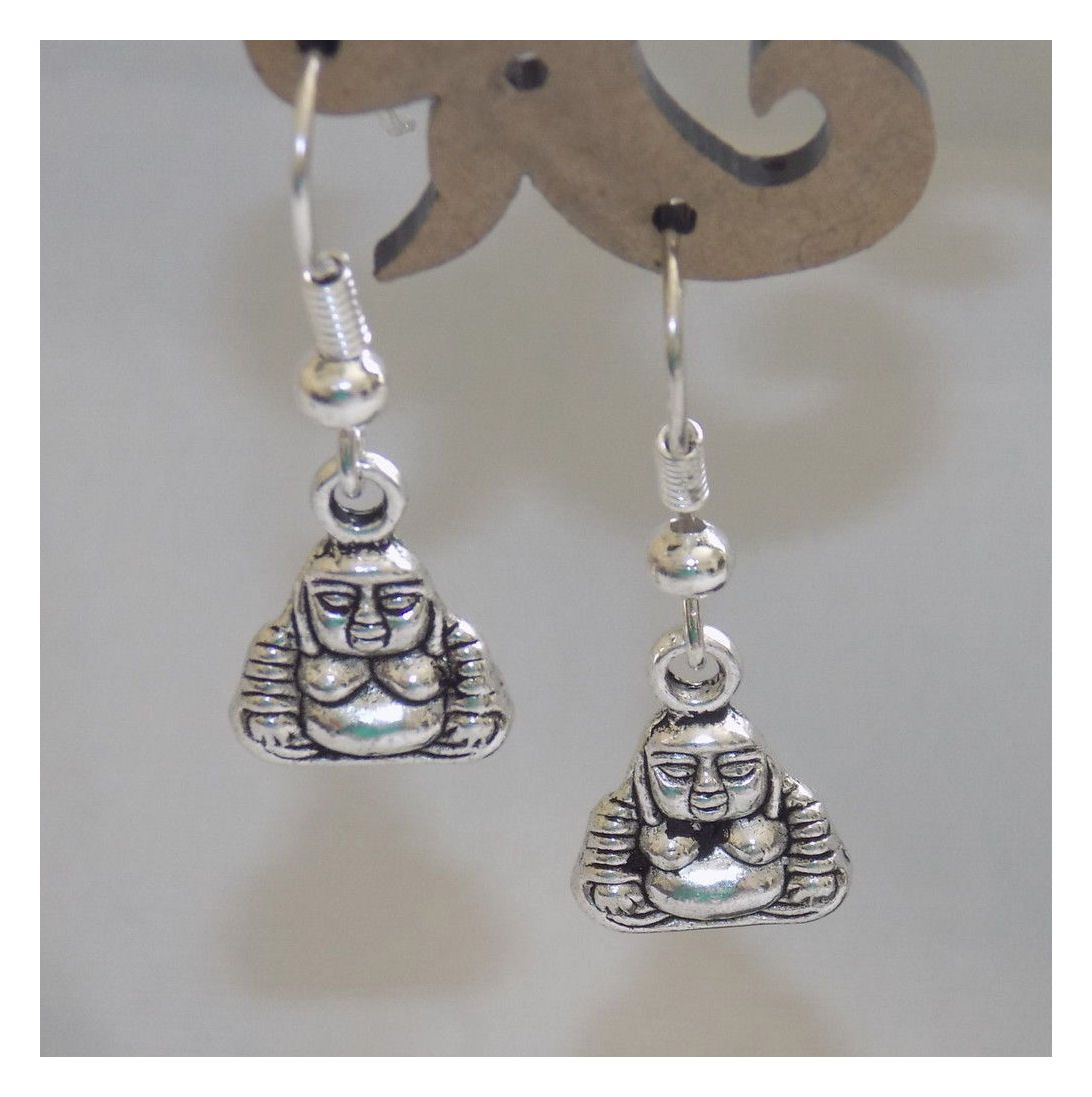 Buddha Silver Themed Earrings